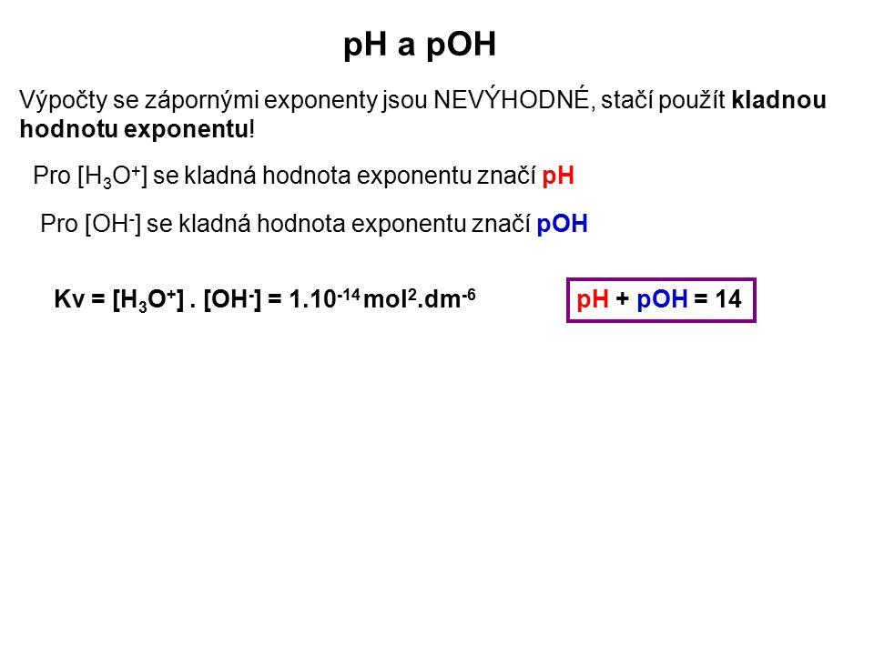pH a pOH Výpočty se zápornými exponenty jsou NEVÝHODNÉ, stačí použít kladnou hodnotu exponentu! Pro [H3O+] se kladná hodnota exponentu značí pH.